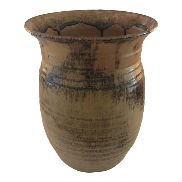 Large California Brown Black Glazed Pottery Vase Chairish