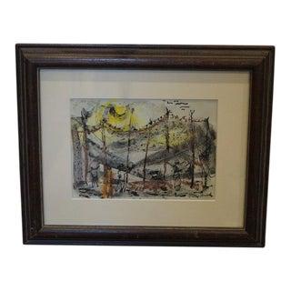 Mid Century Leonard Brooks Painting For Sale