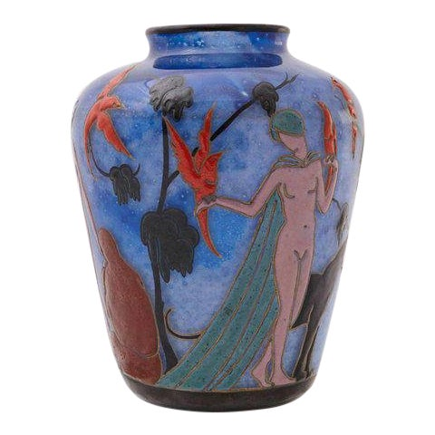 1925 Marcel Goupy Enameled Glass Vase With Three Nude Women For Sale