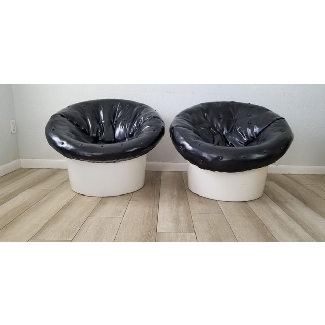 For your consideration , a super Cool Vintage Italian Design Postmodern Satellite Club Chairs A Pair. Can be used outdoor...