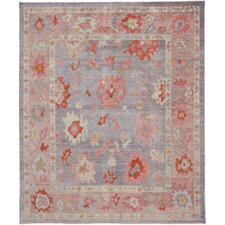Contemporary Turkish Oushak Rug With Modern Colors - 8′ × 9′7″ For Sale