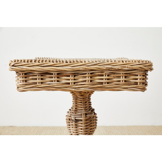 Wicker Woven Wicker and Rattan Pedestal Center Table For Sale - Image 7 of 13