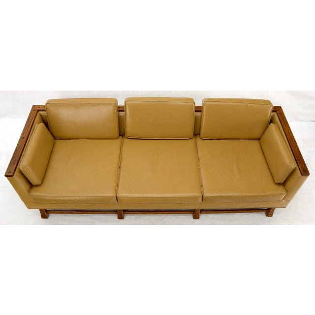 Mid-Century Modern Tan Leather Oak Frame Sofa by Ranch Oak For Sale - Image 10 of 13
