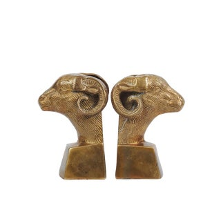 Mid-Century Regency Brass Ram Bust Bookends For Sale