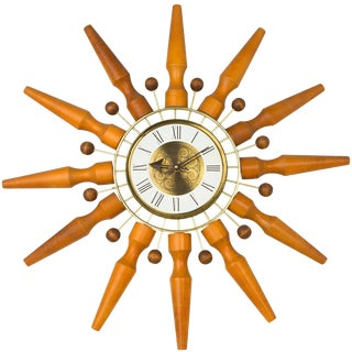 Seth Thomas Sunburst Clock, Circa 1950 For Sale