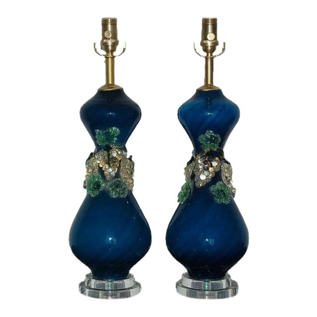 Vintage Murano Glass Fruit Table Lamps Blue For Sale