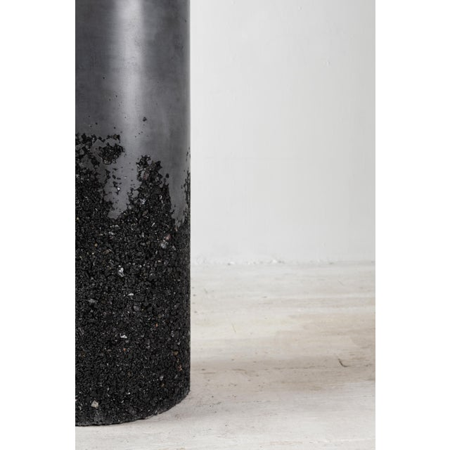 Hand Made Tourmaline and Black Plaster Tall Drum, Side Table by Samuel Amoia For Sale - Image 9 of 13