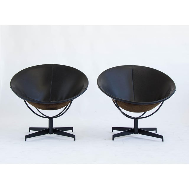 Leather Bucket Chairs by William Katavolos - Pair - Image 2 of 9
