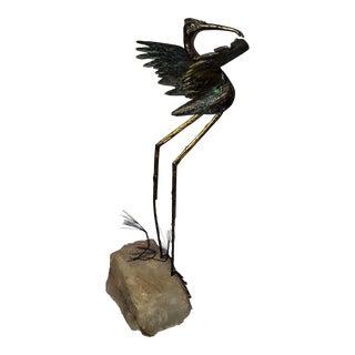 1975 Bronze Modernist Crane Sculpture