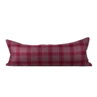 Plum Maroon Plaid Large Lumbar Pillow