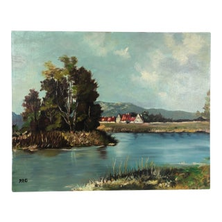 Vintage Landscape Oil on Canvas Painting Signed Prg For Sale