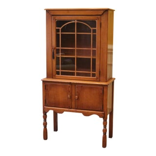 1960s Vintage Boone Trail Maple Curio Cabinet China Hutch For Sale