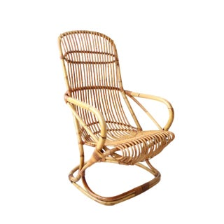 Vintage Vintage Bamboo and Wicker Arm Chair For Sale