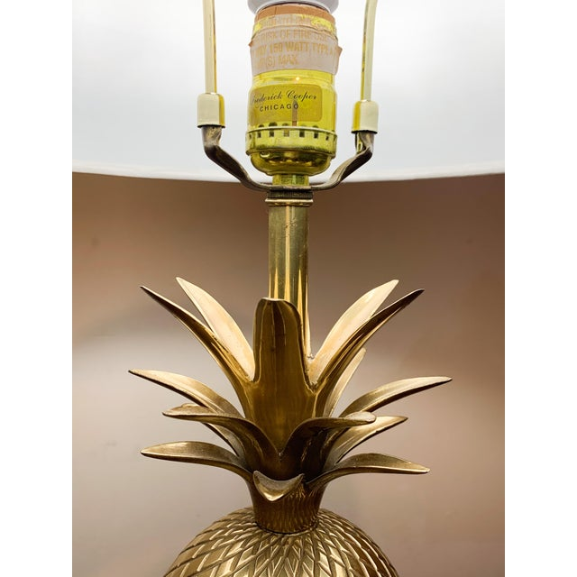 1960s 1960s Frederick Cooper Brass Pineapple Table Lamp For Sale - Image 5 of 10