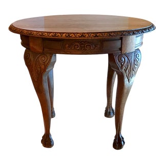 Antique Carved Top Wine Side Table With Carved Hoof Feet For Sale