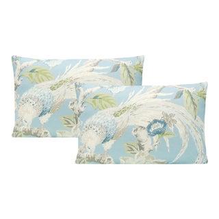 "12"" X 18"" Hydrangea Floral Aviary Lumbar Pillows - a Pair For Sale"