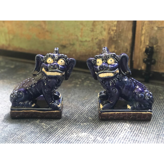 Blue Vintage Foo Dog Statues - a Pair For Sale - Image 8 of 8