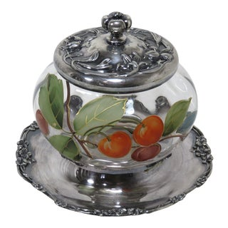Antique Pairpoint Silverplate and Art Glass Jam Jar For Sale