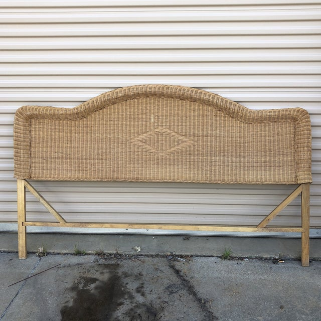 1970s 1970s Boho Chic Queen Wicker Bed Headboard For Sale - Image 5 of 5