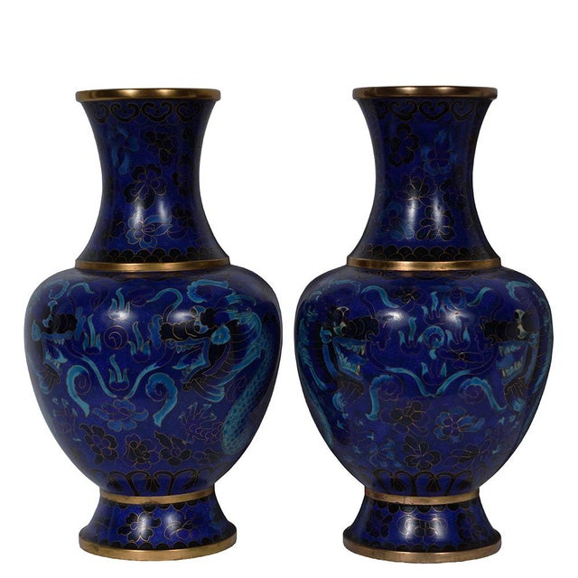 Vintage Chinese Cloisonne Vases A Pair Chairish