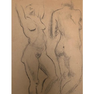 1930s Vintage Raphael Soyer Seated Nude Double Sided Drawing For Sale