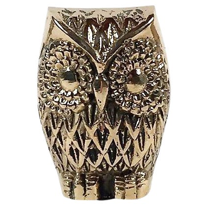 Brass Owl Paperweight For Sale