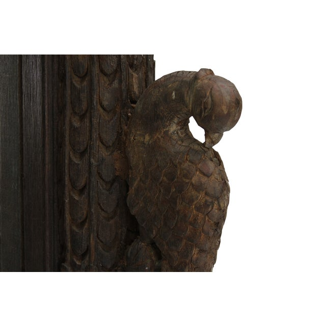 Mid-Century Modern Antique Carved Peacock Indian Balcony Mirror For Sale - Image 3 of 3