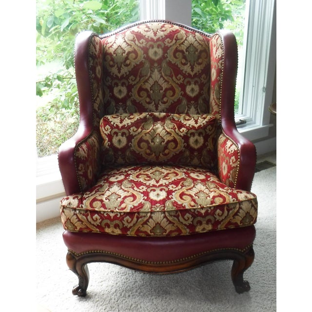 Leather and Fabric Burgundy and Gold Sherrill Windsor Chair - Image 2 of 5