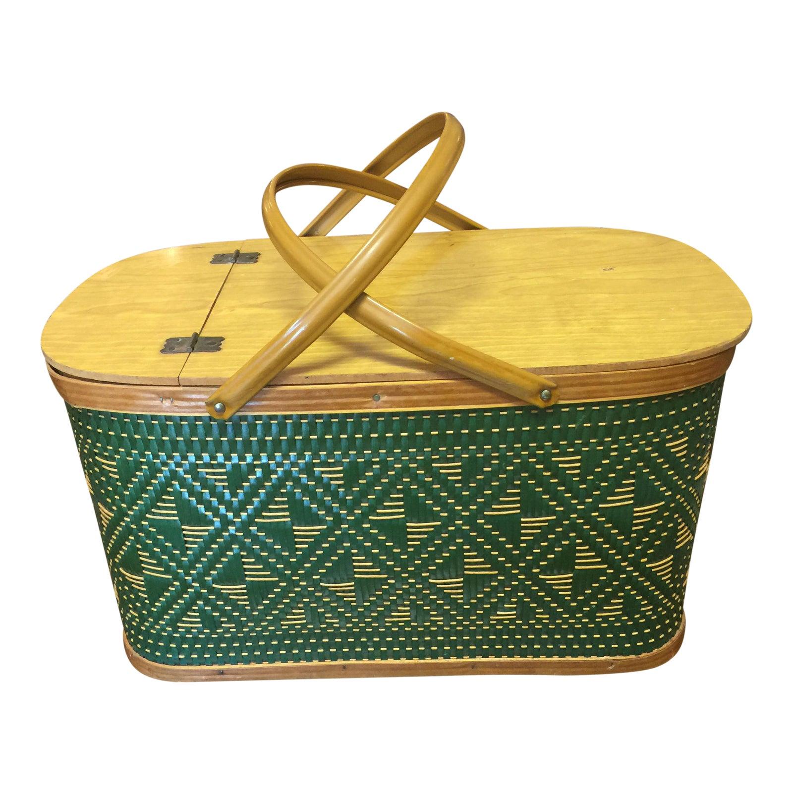 Vintage Burlington Green And Tan Woven Picnic Basket With Metal