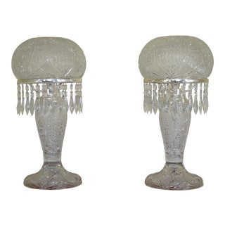 High Quality Turkish Crystal Dome Lamps - A Pair For Sale