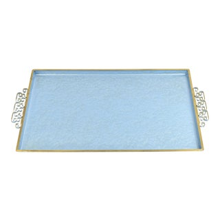Vintage Handmade Kyes Tray With Teal Moire Glaze