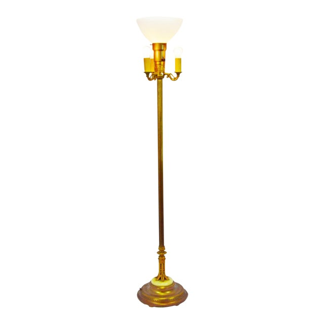 Vintage Mitchell Torchiere Floor Lamp With Milk Glass Corning Diffuser and Slag Glass Base For Sale