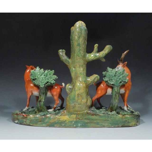 Enoch Wood & Sons Staffordshire Pearlware Deer & Doe Removable Large Deer Park Spill Vase Group For Sale - Image 4 of 5