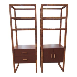Mid Century Wrapped Etageres - a Pair For Sale