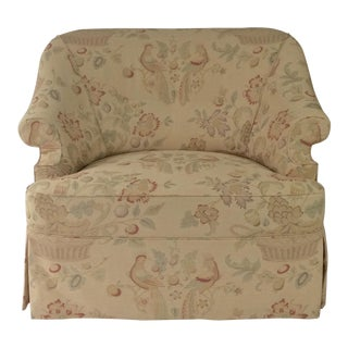George Smith Style English Reading Chair, Custom Upholstered in Bennison Linen For Sale