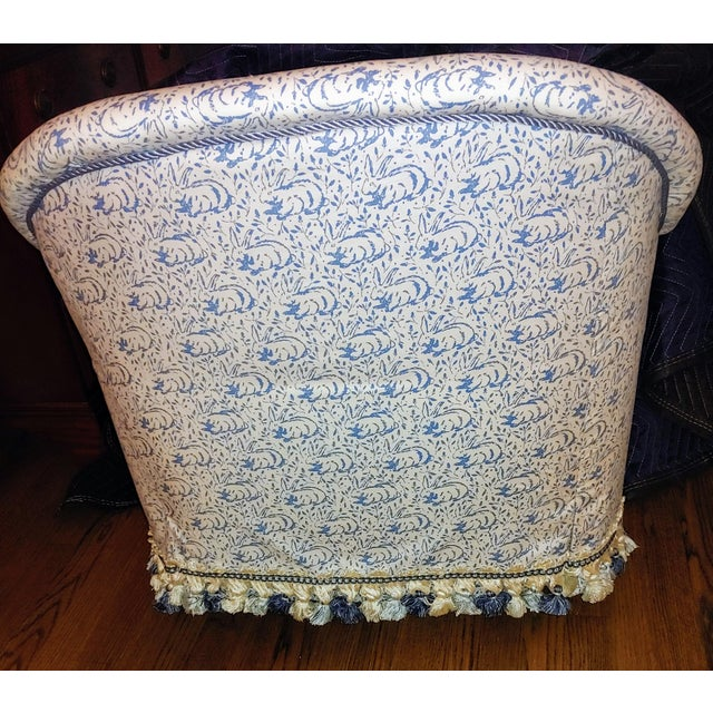 Add a touch of whimsy to your décor with two 1970's vintage tub chairs newly upholstered in Hallie Greer designer Bunny...