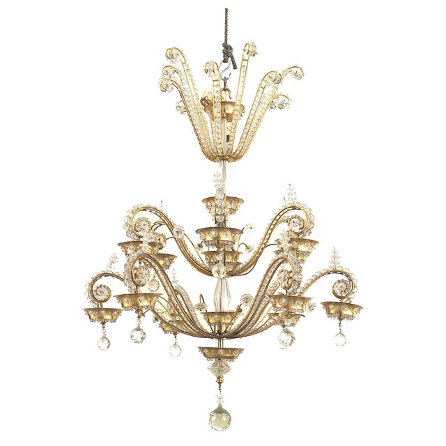 1940s French 1940s Brass Frame Crystal Chandelier by Baguès for Jansen For Sale - Image 5 of 5
