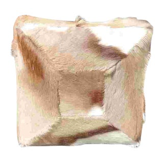 20th Century Hide and Faux Leather Covered Pillow For Sale