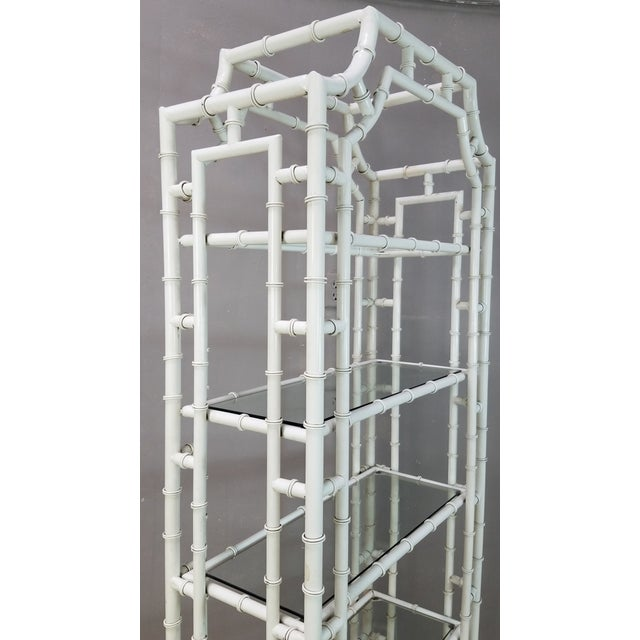 1950s 1950s Hollywood Regency White Metal Pagoda Faux Bamboo Etagere For Sale - Image 5 of 13