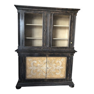 Italian Hand Painted Wood Cupboard/Buffet With Chicken Wire Doors For Sale
