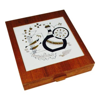 Mid-Century Modern Box Cheese Board & Utensils Atomic Mid Century Modern Barware For Sale