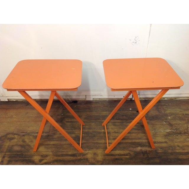 Orange Mid Century Collapsible Side Tables - Pair - Image 6 of 11