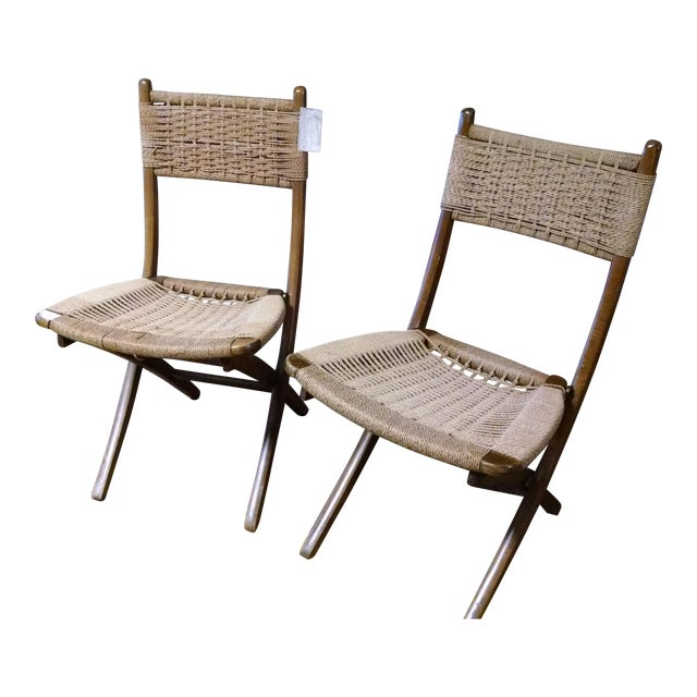 Danish-Style Folding Accent Chairs - A Pair - Image 1 of 6