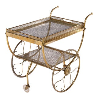 Brass Mid Century Serving Cart c. 1970 For Sale