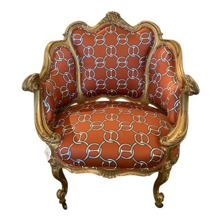 1930s Gilded French Bergère Chair With Hermes Link Fabric For Sale