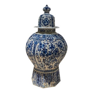 18th Century Delft Vase With Lid For Sale
