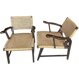 Danish Mid Century Modern Rope Armchairs - a Pair For Sale