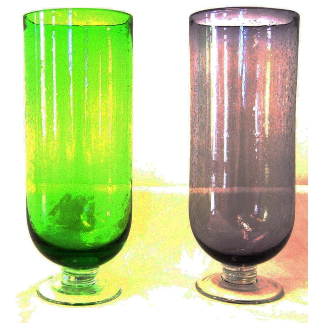 Footed Base Glass Vases - A Pair - Image 2 of 4