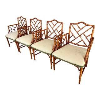 Vintage Chinese Chippendale Faux Bamboo Wooden Chairs - Set of 4 For Sale