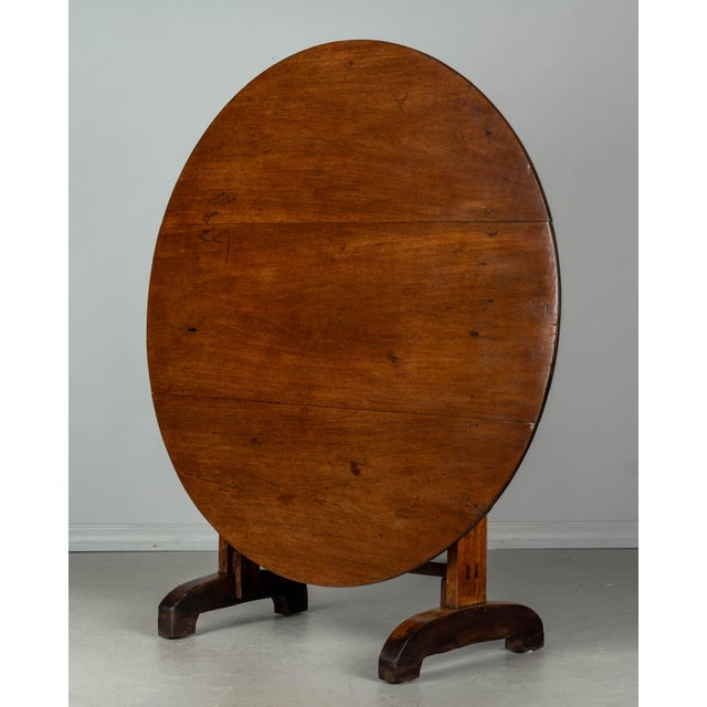 French Country 19th C. French Wine Tasting Table or Tilt-Top Table For Sale - Image 3 of 12